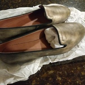Barney's New York Pewter/Gold  Loafers/Flats